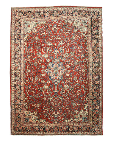 Hand-knotted Wool Rust Traditional Oriental Mahal Rug (12'2 x 17')