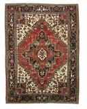 Hand-knotted Wool Rust Traditional Geometric Heriz Rug (6'11 x 9'5)