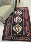 Navy Traditional Hamadan Rug, 3'5 x 4'11