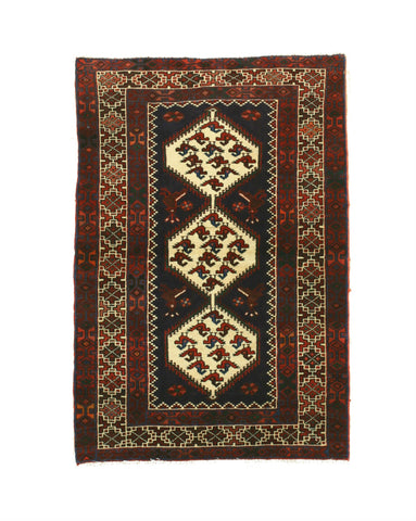 Hand-knotted Wool Navy Traditional Oriental Hamadan Rug (3'5 x 4'11)