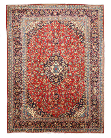 Hand-knotted Wool Red Traditional Oriental Tabriz Rug (9'8 x 12'10)