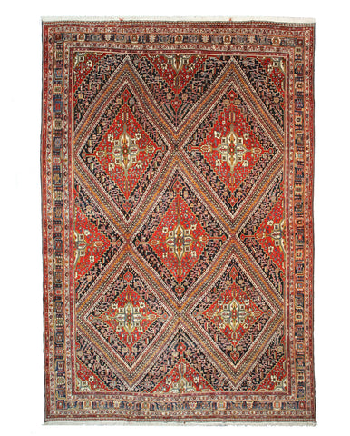 Hand-knotted Wool Red Traditional Oriental Antique Ghashghai Rug (12'5 x 18'7)