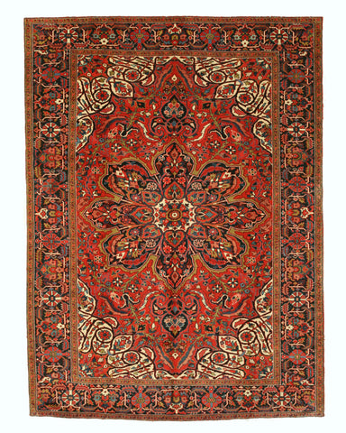 Hand-knotted Wool Rust Traditional Oriental Heriz Rug (8'9 x 12')