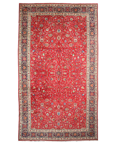 Hand-knotted Wool Red Traditional Oriental Tabriz Rug (10' 6 x 18' 8)
