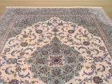 Ivory Traditional Kashan Rug, 10' x 12'4