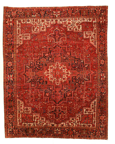 Hand-knotted Wool Red Traditional Oriental Heriz Rug (10'2 x 12'9)
