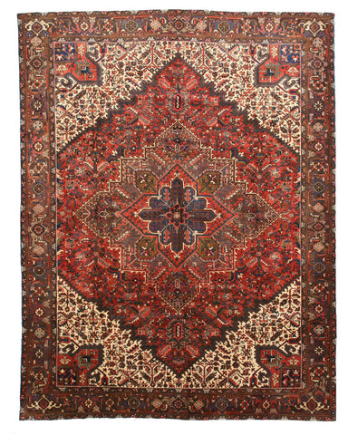Hand-knotted Wool Rust Traditional Oriental Heriz Rug (9'10 x 12'11)
