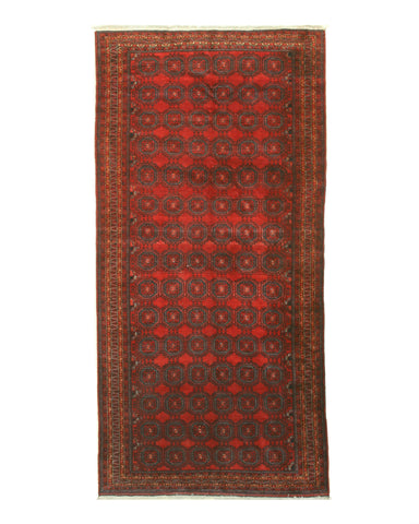 Hand-knotted Wool Rust Traditional Geometric Baluchi Rug (5'5 x 11'1)