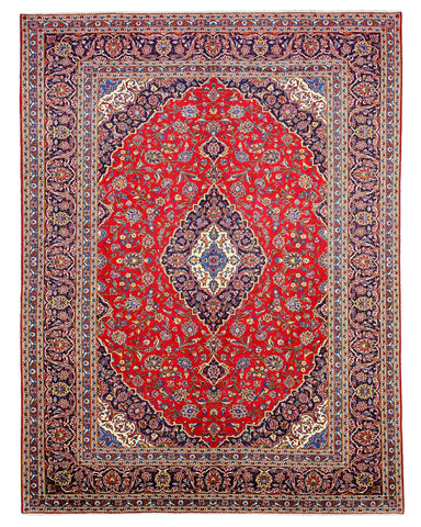 Hand-knotted Wool Red Traditional Oriental Medallion-Kashan Rug (9'10 x 13')