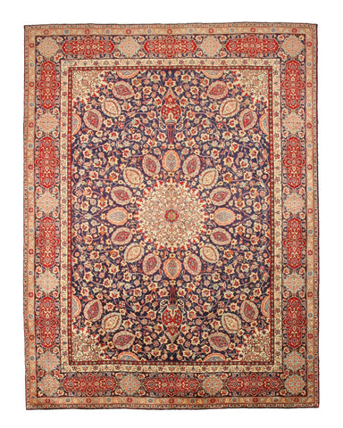 Hand-knotted Wool Blue Traditional Oriental Tabriz Rug ( 9'11 x 13' 5)