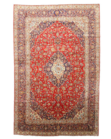 Hand-knotted Wool Red Traditional Oriental Medallion Kashan Rug (9'11 x 15'4)