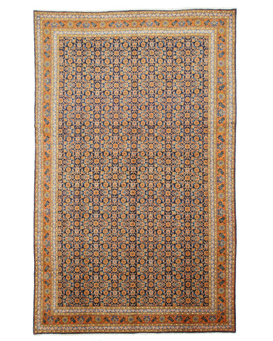 Hand-knotted Wool Blue Traditional Oriental Mahi Tabriz Rug (8'7 x 13'10)