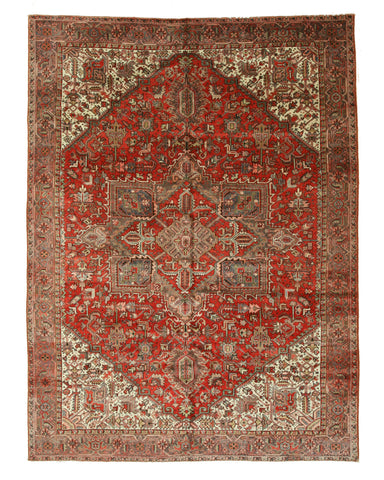 Hand-knotted Wool Rust Traditional Geometric Heriz Rug (9'10 x 13'3)