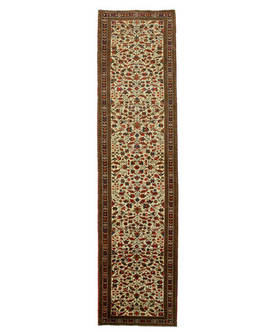 Hand-knotted Wool Ivory Traditional Oriental Heriz Rug (3'2 x 12'6)