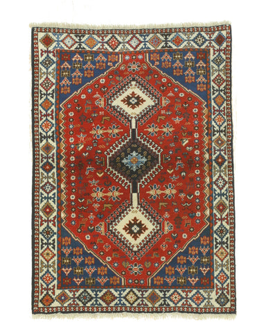 Hand-knotted Wool Red Traditional Oriental Yalameh Rug (3'5 x 4'10)