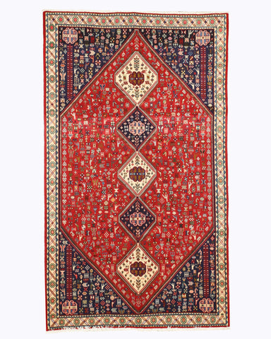 Hand-knotted Wool Red Traditional Oriental Abadeh Rug (4'11 x 8'6)
