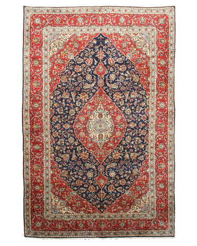 Hand-knotted Wool Blue Traditional Oriental Kashan Rug (9'8 x 14'10)