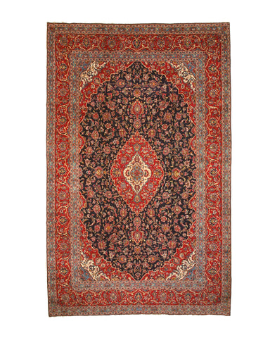 Hand-knotted Wool Blue Traditional Oriental Kashan Rug