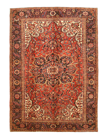 Hand-knotted Wool Rust Traditional Oriental Heriz Rug (8'4 x 11'8)