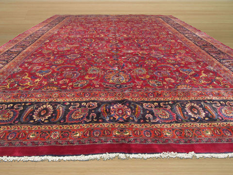 Buy Hand Knotted Wool Red Traditional Oriental Mashad Rug 11 X 16 4 Online