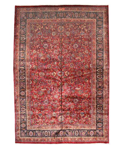 Hand-knotted Wool Red Traditional Oriental Mashad Rug (11' x 16'4)
