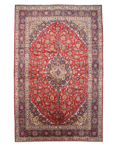Hand-knotted Wool Red Traditional Oriental Medallion Kashan Rug (12'10 x 19'6)