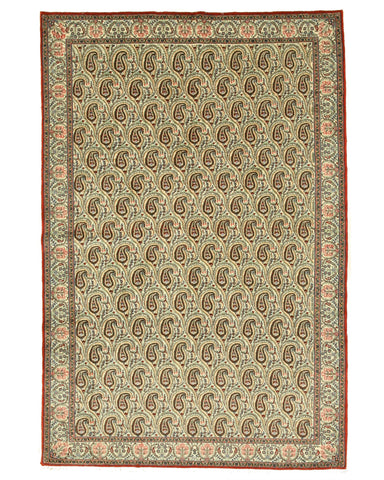 Hand-knotted Wool Ivory Traditional Oriental Paisley Qum Rug (6'9 x 10'3)