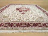 Ivory Traditional Floral Tabriz Rug, 12' x 15'