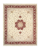 Hand-knotted Wool & Silk Ivory Traditional Oriental Floral Tabriz Rug (12' x 15')