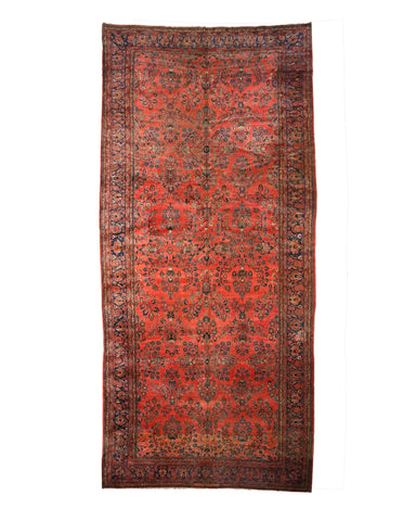 Hand-knotted Wool Rust Traditional Oriental Antique Sarouk Rug (11'2 x 24')