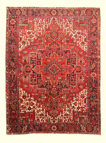 Hand-knotted Wool Rust Traditional Oriental Heriz Rug (9'3 x 12'6)