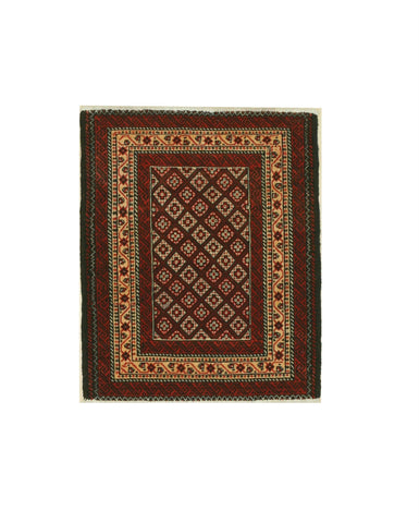 Hand-knotted Wool Rust Traditional Oriental Baluchi Rug (2'4 x 2'9)