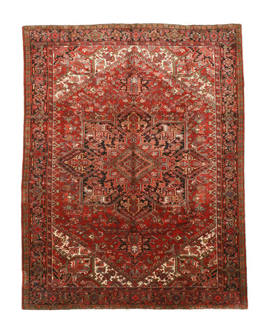 Hand-knotted Wool Rust Traditional Geometric Heriz Rug (8'5 x 11'9)