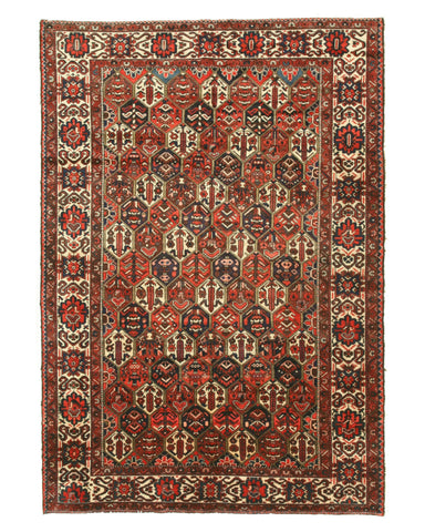 Hand-knotted Wool Traditional Geometric Bakhtiar Rug (7'1 x 10'2)