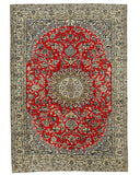 Hand-knotted Wool Red Traditional Oriental Naiin Rug (6'5 x 9'4)