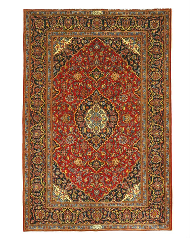Hand-knotted Wool Red Traditional Oriental Shadsar Kashan Rug (4'9 x 7'1)