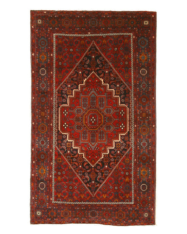Hand-knotted Wool Navy Traditional Oriental Goltogh-Bidjar Rug (4'3 x 7'3)