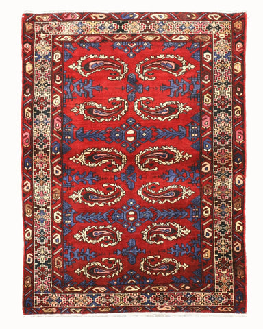 Hand-knotted Wool Red Traditional Oriental Hamadan Rug (3'8 x 4'11)