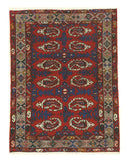 Hand-knotted Wool Red Traditional Oriental Hamadan Rug (3'7 x 4'10)