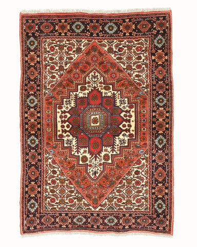 Hand-knotted Wool Rust Traditional Oriental Bidjar Rug (3'3 x 4'9)
