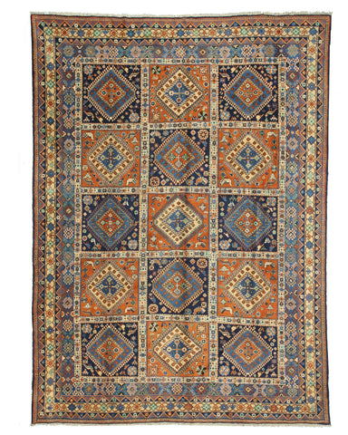 Hand-knotted Wool Pumpkin Traditional Oriental Panel Yalameh Rug (9'9 x 14')