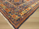 Pumpkin Traditional Panel Yalameh Rug, 9'9 x 14'