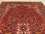 Red Traditional Heriz Rug, 8'10 x 11'10