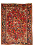 Hand-knotted Wool Red Traditional Oriental Heriz Rug (8'10 x 11'10)