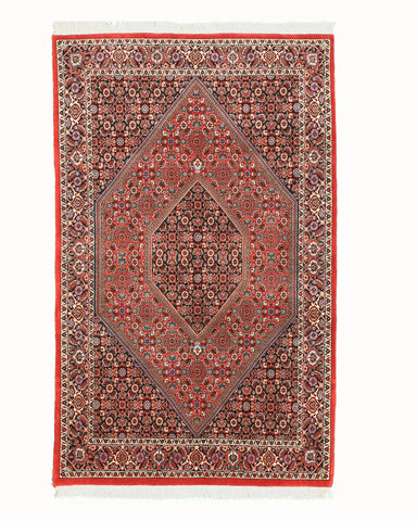 Hand-knotted Wool Red Traditional Oriental Bidjar Rug (3'8 x 6'1)