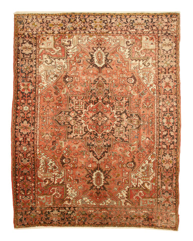 Rust Traditional Heriz Rug, 7'10 x 10'10