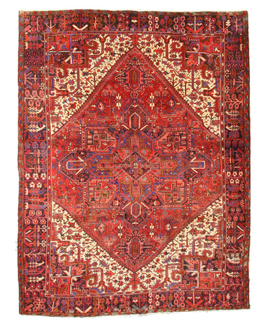 Hand-knotted Wool Red Traditional Oriental Heriz Rug (10'1 x 12'8)