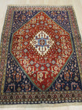 Red Traditional Kashkuli Rug, 3'5 x 4'9