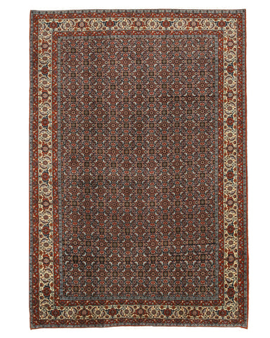 Hand-knotted Wool Navy Traditional Oriental Bidjar Rug (6'9 x 9'11)