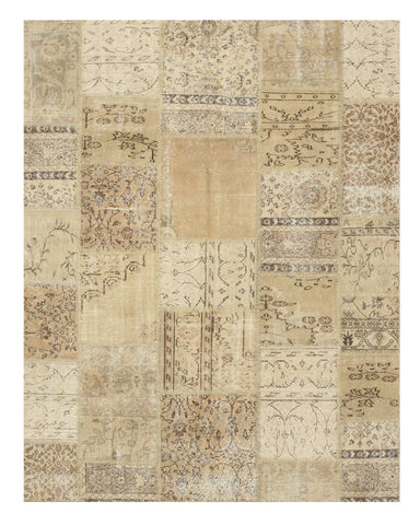 Hand-knotted Wool Ivory Transitional Oriental Turkish Patch Rug (6'3 x 8'1)